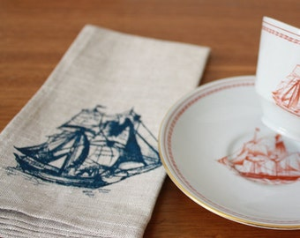 ship & whale napkins, set of 2