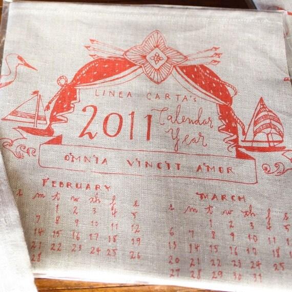 reserved for Lindsey - 2011 Linen Calendar