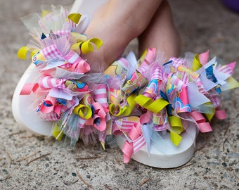 Learn how to make funky loopy flip flops, hair bows and headbands PDF hair bow instructions instant download