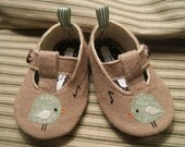 Green Chirp Wool Felt Baby Shoes- Sizes 1-6