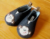 Monkey Wool Felt Baby Shoes- Sizes 1-6