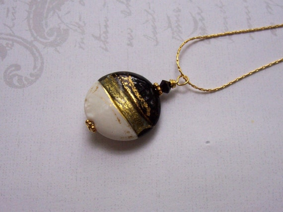 Black and White Venetian Glass Necklace