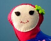 Mrs Comma Circus - handmade felt plush, pink ballerina felt doll plush SALE