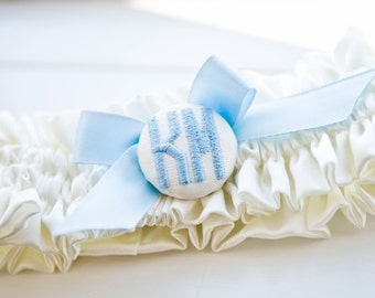 Monogram satin wedding garter with wedding date inside