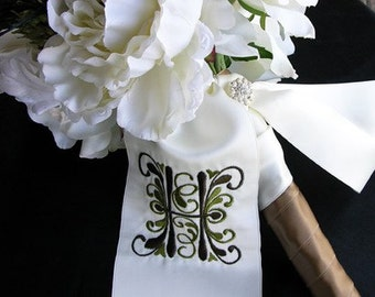 Bouquet Ribbon Sash with custom embroidery