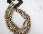 Shimmer, Swarovski Pearls, Czech Glass, Nylon Chain, Long, Mulit-Strand Necklace