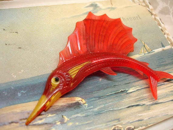 caTch of the day . 1940s plastic sailfish brooch