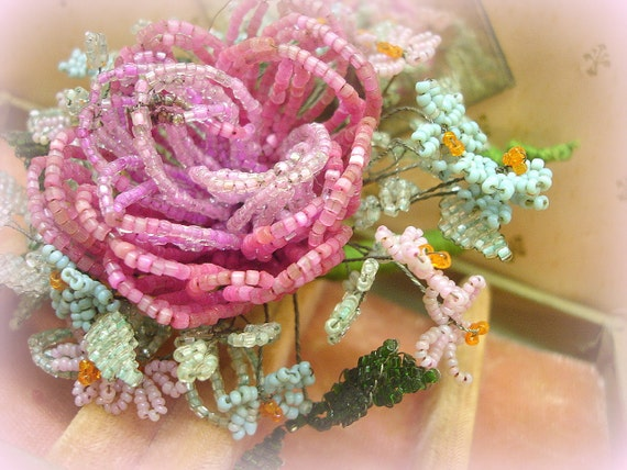 SALE PENDING . exQuisite vintage hand beaded corsage . vintage flowers beaded by hand . shades of rose . aqua