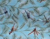 """Dragonflies and ferns on aqua blue cotton quilting fabric 1/3 yard or 13"""" Creature Comforts 5863 Spring Industries"""
