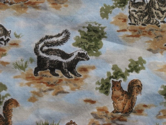 Squirrels and Skunks woodland Creatures fabric 29 x 42 more than 2/3 yard