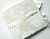 White Damask Large Wedding Guest Book - Made To Order
