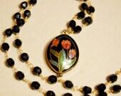 Cloisonne Enamel Beaded Necklace Flower Tulip Butterfly Charm Vintage Glass Beads