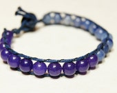 Stone Wrap Bracelet chan luu style Sodalite and Blue Aventurine Blue and Purple natural Stone with Vintage Faceted Bead