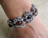 Jet and Carnelian Metaphysical Chainmaille Bracelet