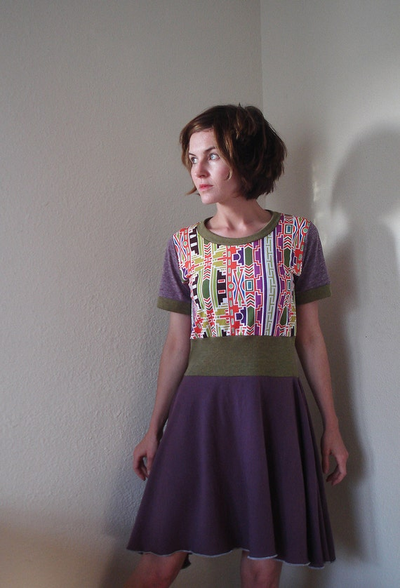 RESERVED FOR MEAGAN Spicy Toast Cleo Dress with bright neon green & purple flare skirt small-medium lycra stretch