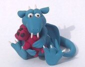 Turquoise Dragon With Teddy Bear Polymer Clay Sculpture