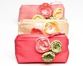 As Seen in Weddingbells Magazine - READY TO SHIP - Bridesmaid Gift Clutches - Set of 3 Bags with Flower Embellishments, Pink, Yellow, Green