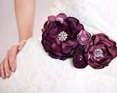 RESERVED Bridal Sash - Purple Tone Blossoms and Rhinestones - Extra Long