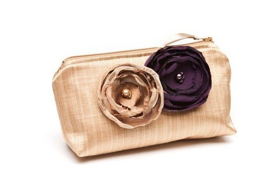 Sale - Ready to Ship -  Gold and Eggplant - Bridal or Bridesmaid Clutch
