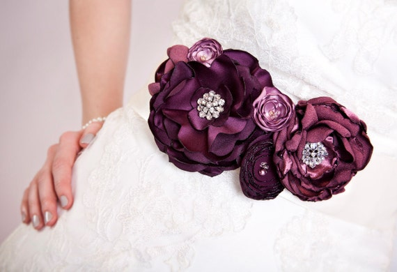 RESERVED Bridal Sash - Purple Tone Blossoms and Rhinestones - Extra Long