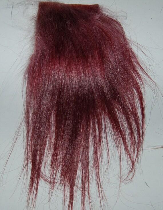 Premium Hair  Cashemere Goat - Burgundy - L piece BUR1 - For Art Dolls OOAK