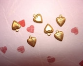 SALE Tiny Raised Heart Charms with Lined Edge on Etsy x 6