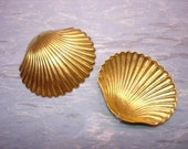 Clam Shell Large Nautical Brass Sea Shell Stamping 3-D Supplies  on Etsy