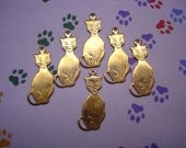 Siamese Kitty Cat Brass Charms on Etsy x 6