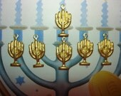 Menorah Charms Hebrew Jewish Brass Findings on Etsy x 6