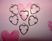 Heart Charms Center Loop Silver Tone on Etsy x 6