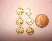 Tiny Moon and Stars Celestial Medallions SALE Left and Right Brass Charms on Etsy x 3 Pair