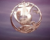 Ship At Sea Open Work Medallion Sterling Silver Plated Charm on Etsy x 1