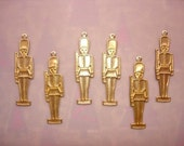 Toy Soldier Nutcracker Brass Christmas Jewelry Charms/Collage/Scrapbook Art/Crazy Quilt on Etsy x 6