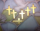 Cross Charms Solid Brass Jewelry Supplies on Etsy x 6