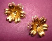 Flowers Double Petal Dimensional Satin Brass 3D on Etsy x 2