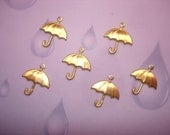 Umbrella Charms Jewelry Supplies in Brass on Etsy x 6