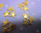 Triple Star Connector Links 3 Stars and 2 Rings Brass Celestial/Patriotic on Etsy x 6