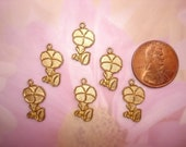 Morning Glory Brass Flower Charms Aceo Crazy Quilt ScrapBook Art on Etsy USA Made x 6