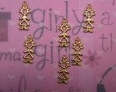 SALE---1.00---6 Tiny Stick GIRL Kawaii Brass Charms on Etsy