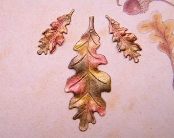 Oak Leaf Charms Autumn Shades Fall Supplies on Etsy x Set/3