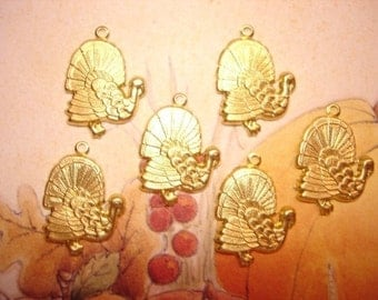 Brass Turkey Charms Fall Thanksgiving on Etsy x 6