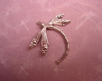 Curved Dragonfly Silver Tone Graceful Curved Stamping/Mixed Media/Collage/Craft on Etsy x1