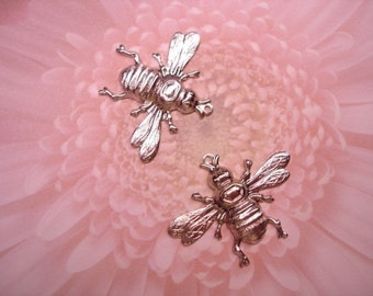 Worker Honey Bee Charms Silver Tone Jewelry Findings on Etsy x 2