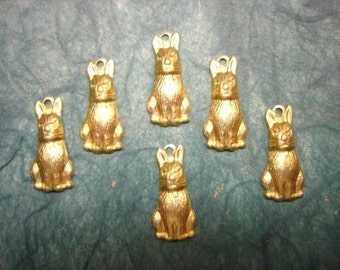 Bunny Rabbit Charms Brass Easter Jewelry Charms on Etsy x 6