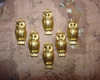 Owl Charms Brass Supplies on Etsy x 6