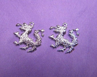 Baby Rampant Lion Baby Rampant Dragon Sterling Silver Plated Jewelry Charms on Etsy x 2