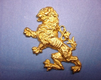 Rampent Lion Brass Dragon Jewelry Charm/Pendant/Mixed Media Art/Collage on Etsy x 1