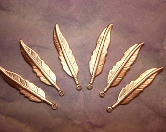Feather Charms Brass Jewelry MEDIUM Findings  Earrings/Mixed Media Art/Collage on Etsy x 6