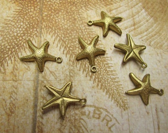Starfish, Double Sided, Textured Brass Jewelry Charms/Earrings/Mixed Media Art/Crazy Quilt, Quantity Choice