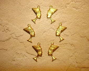 Nefertiti Egyptian Queeen Brass Jewelry Charms on Etsy x 3 Pair
